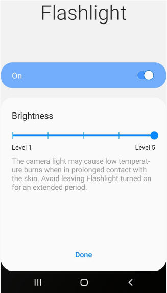 flashlight brightness level